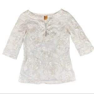 Tory Burch White and Metallic Silver Floral Tunic